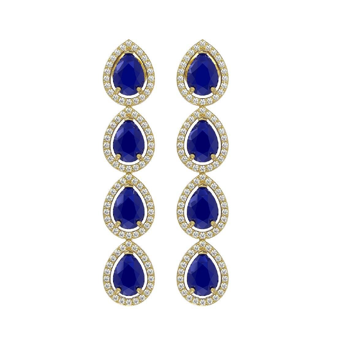10.2 CTW Sapphire & Diamond Halo Earrings 10K Yellow