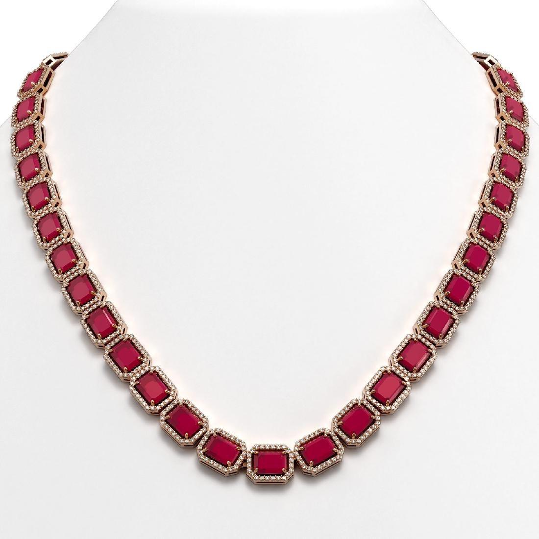 58.59 CTW Ruby & Diamond Halo Necklace 10K Rose Gold