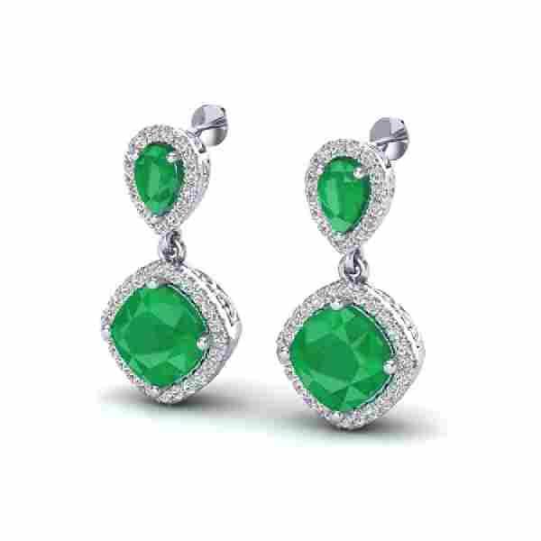 7 CTW Emerald Micro Pave VSSI Diamond Earrings