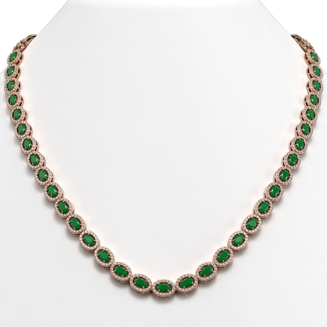 26.38 CTW Emerald & Diamond Halo Necklace 10K Rose Gold