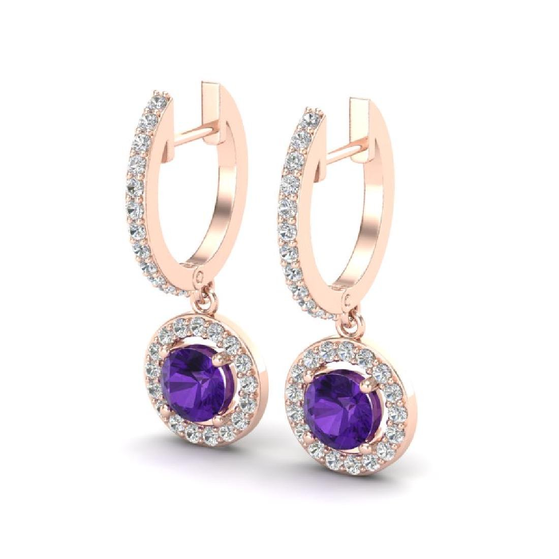 1.75 CTW Amethyst & Micro Pave Halo VS/SI Diamond