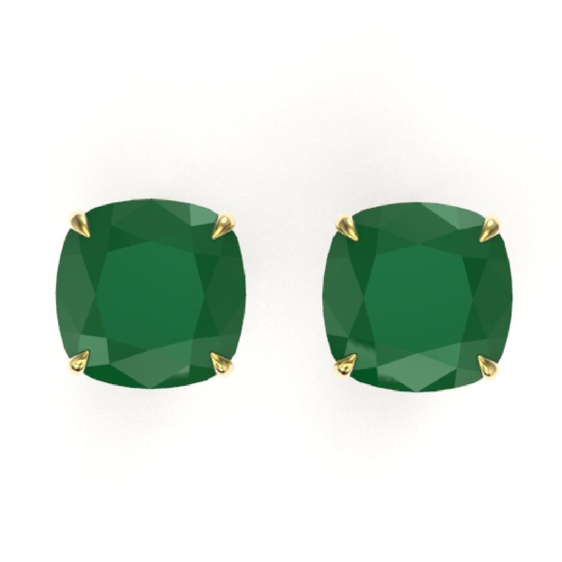 12 CTW Cushion Cut Emerald Designer Solitaire Stud
