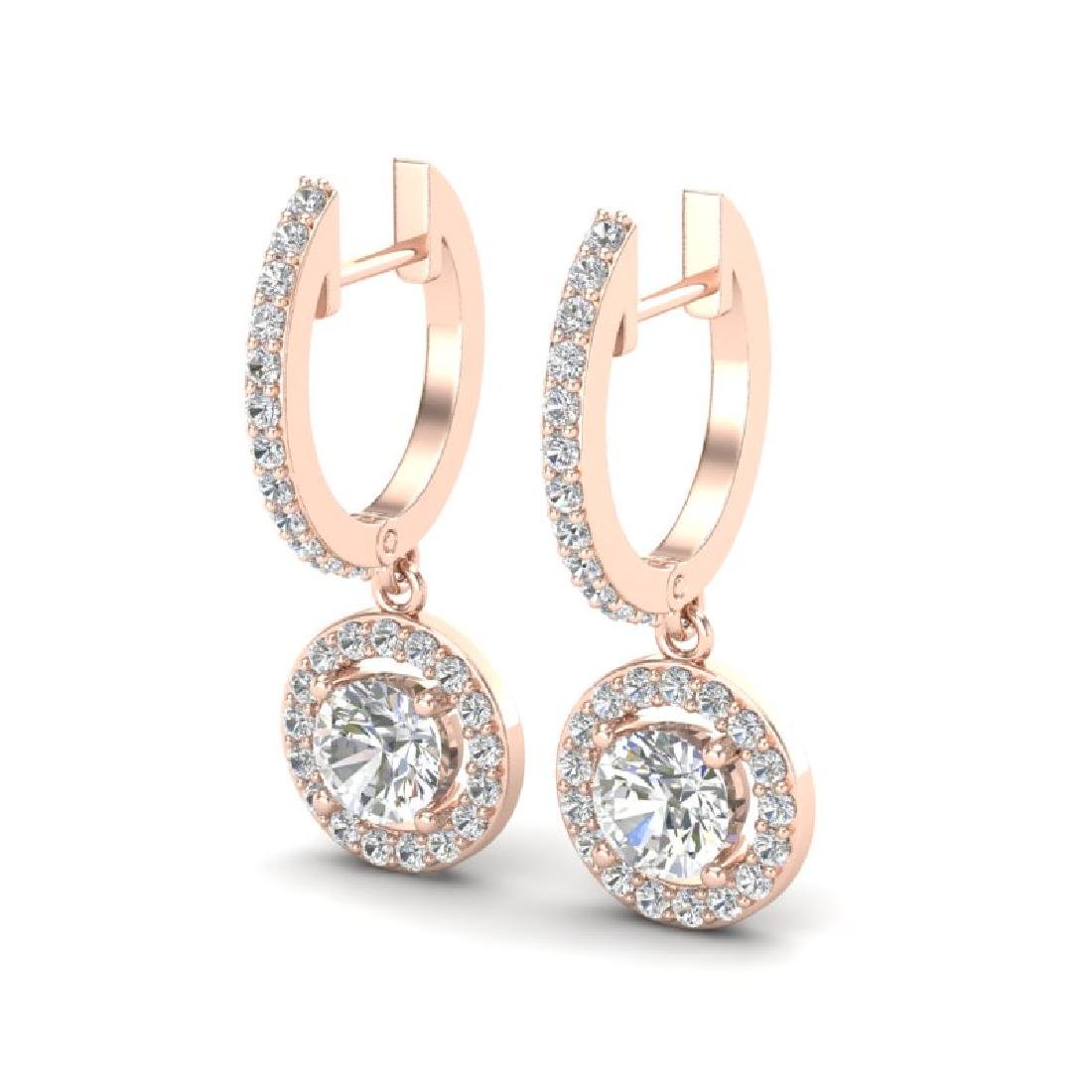 1.75 CTW Micro Pave Halo VS/SI Diamond Earrings 14K
