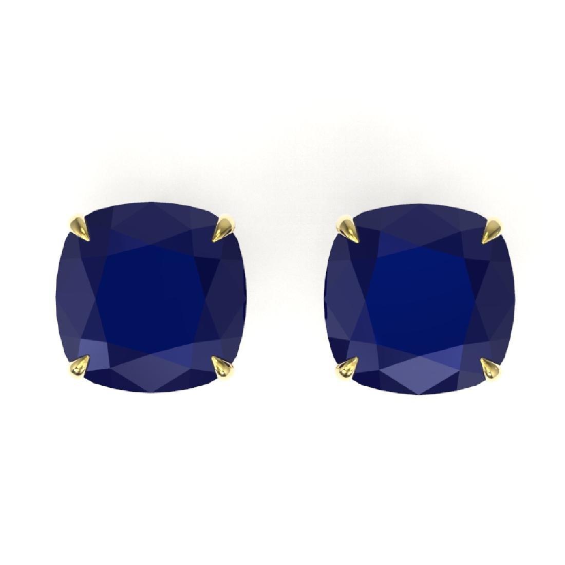 12 CTW Cushion Cut Sapphire Designer Solitaire Stud
