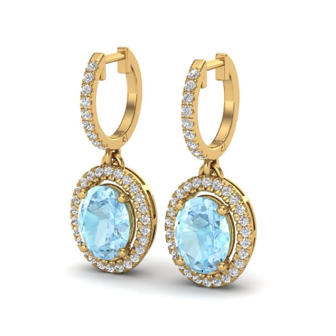 3.25 CTW Aquamarine & Micro Pave VS/SI Diamond Earrings