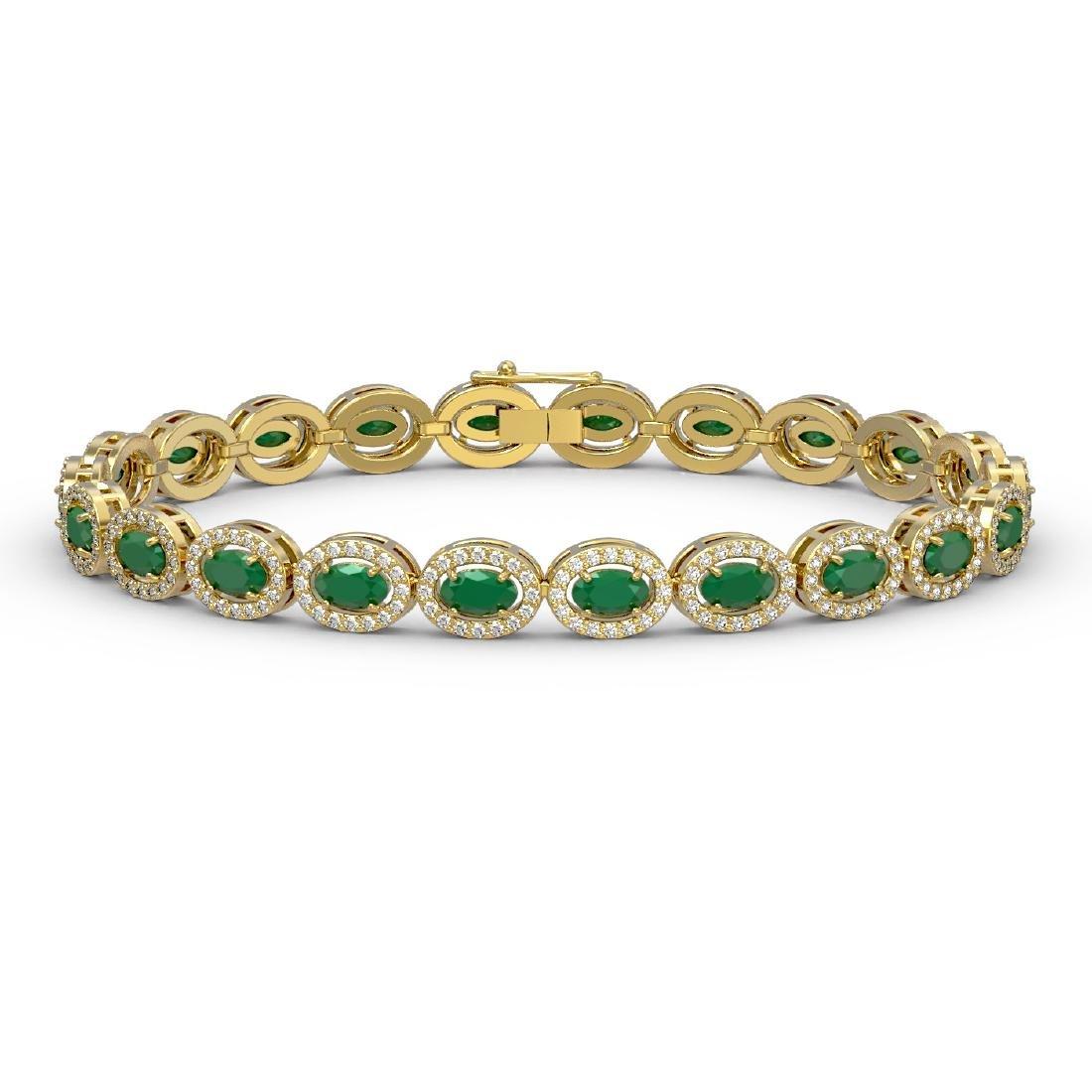 11.58 CTW Emerald & Diamond Halo Bracelet 10K Yellow