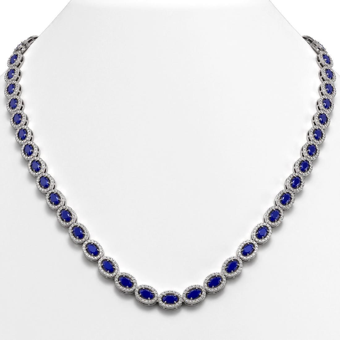 26.38 CTW Sapphire & Diamond Halo Necklace 10K White