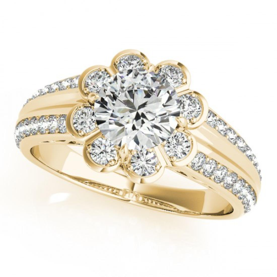 0.85 CTW Certified VS/SI Diamond Solitaire Halo Ring