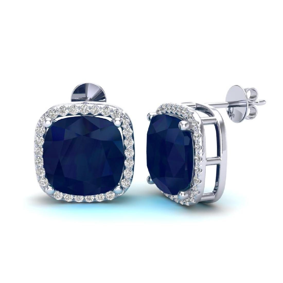 12 CTW Sapphire & Micro Pave Halo VS/SI Diamond - 2
