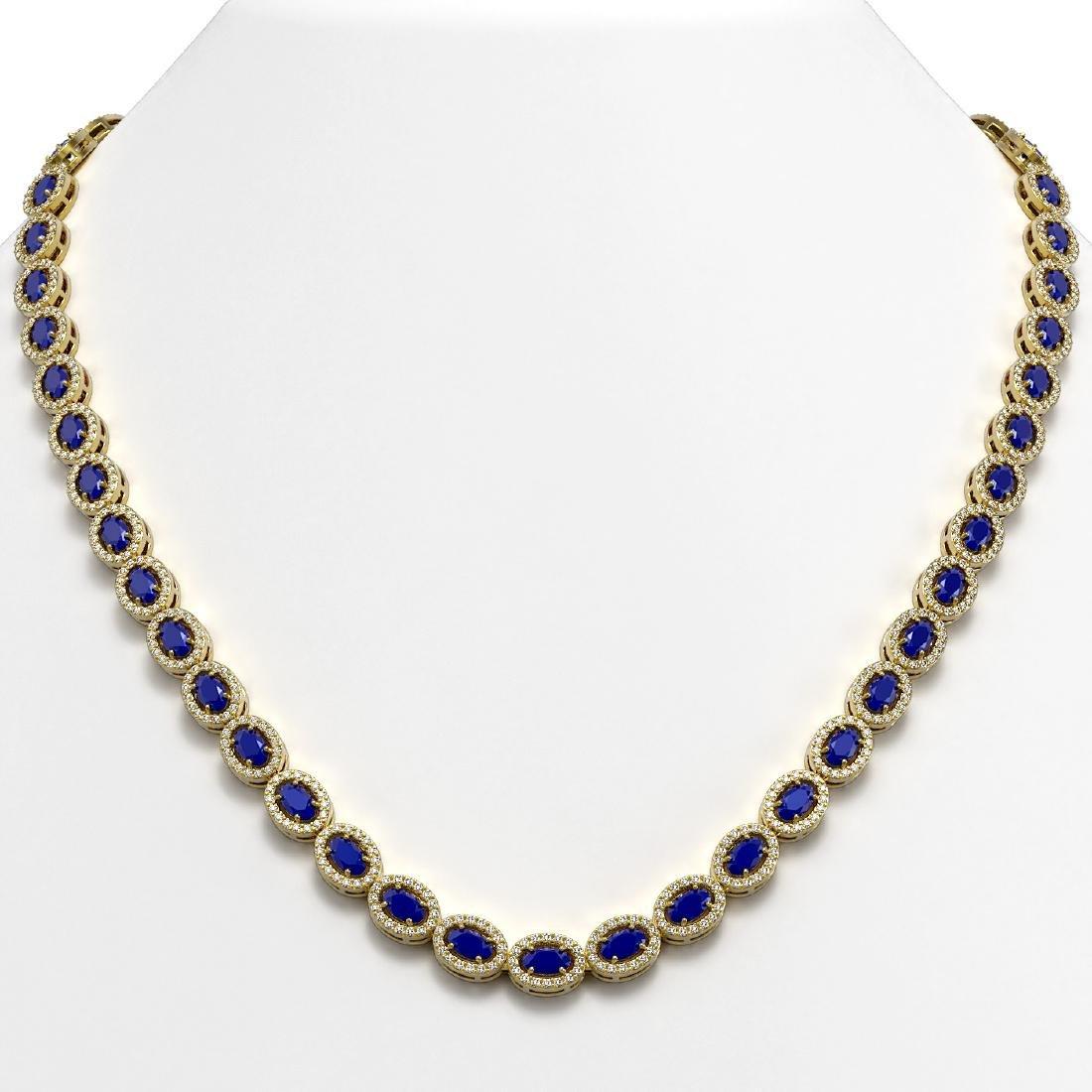 26.38 CTW Sapphire & Diamond Halo Necklace 10K Yellow