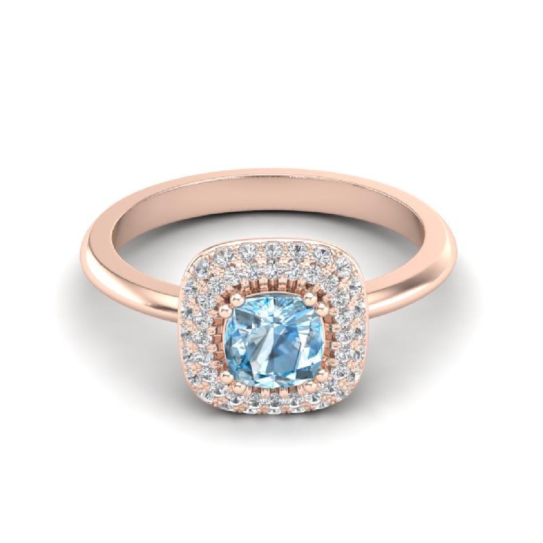 1.16 CTW Sky Blue Topaz & Micro VS/SI Diamond Ring