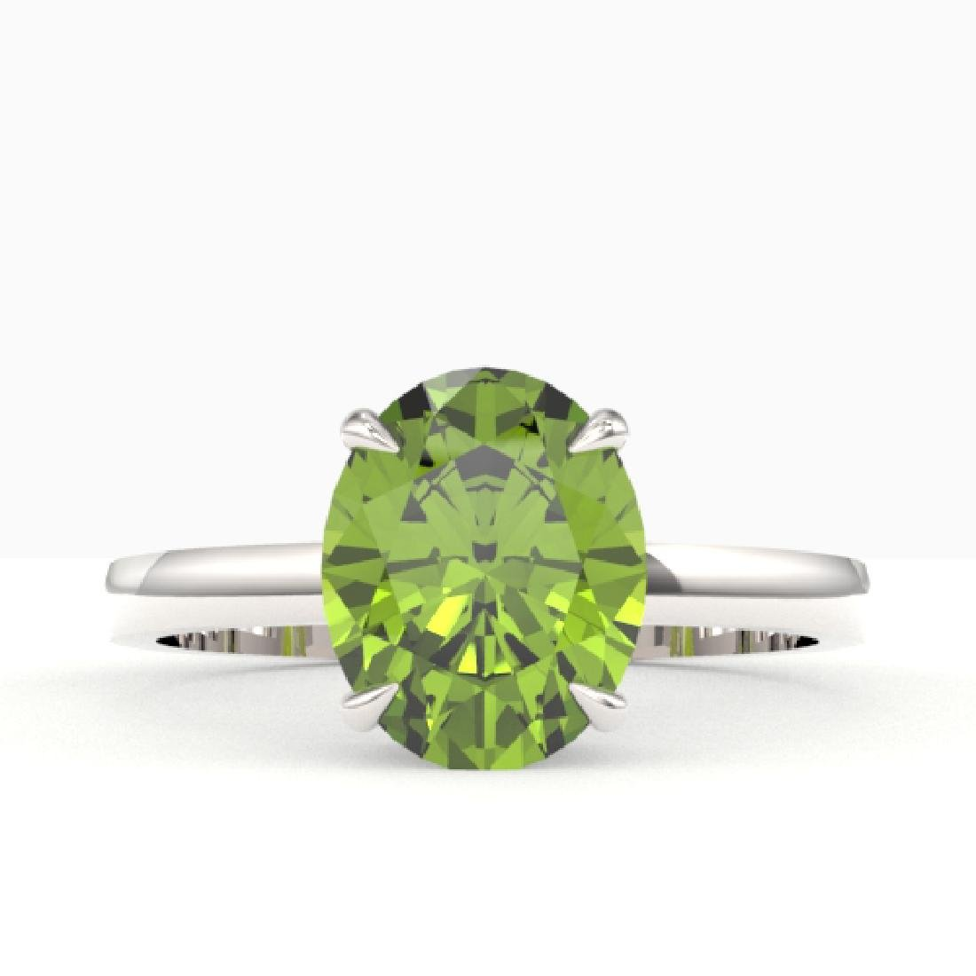 2.75 CTW Peridot Designer Inspired Solitaire Ring 18K