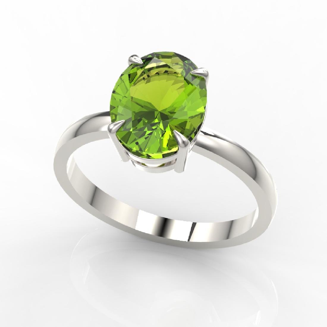 2.75 CTW Peridot Designer Inspired Solitaire Ring 18K - 2