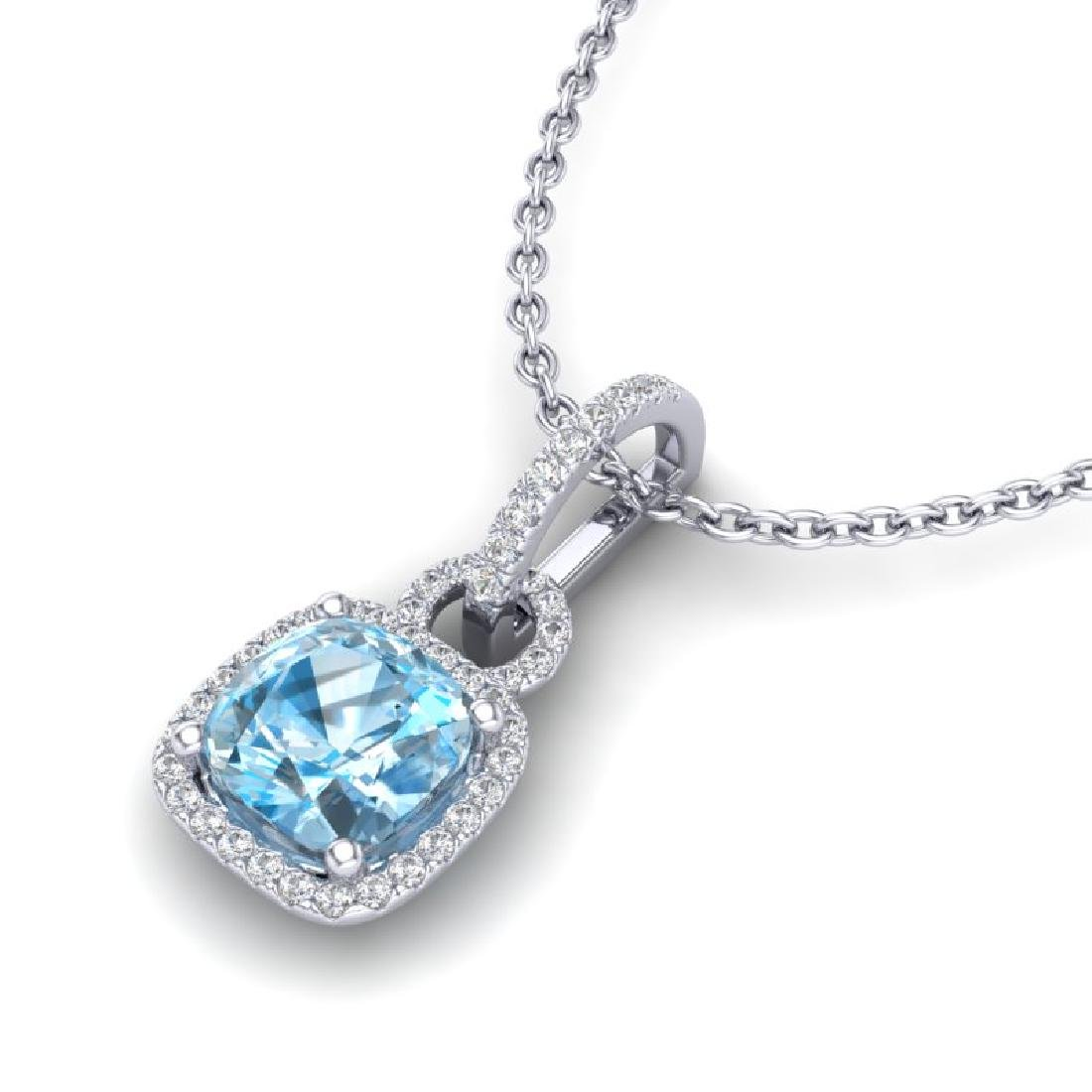 3.50 CTW Topaz & Micro VS/SI Diamond Necklace 18K White