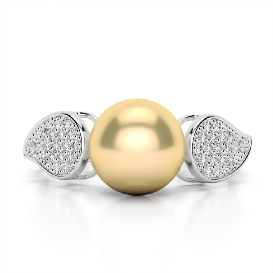 0.27 CTW Micro Pave VS/SI Diamond & Golden Pearl
