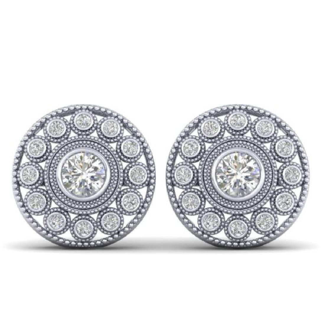 1.11 CTW Certified VS/SI Diamond Art Deco Stud Earrings