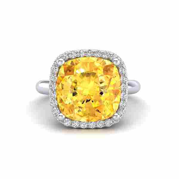 6 CTW Citrine And Micro Pave Halo VSSI Diamond Ring