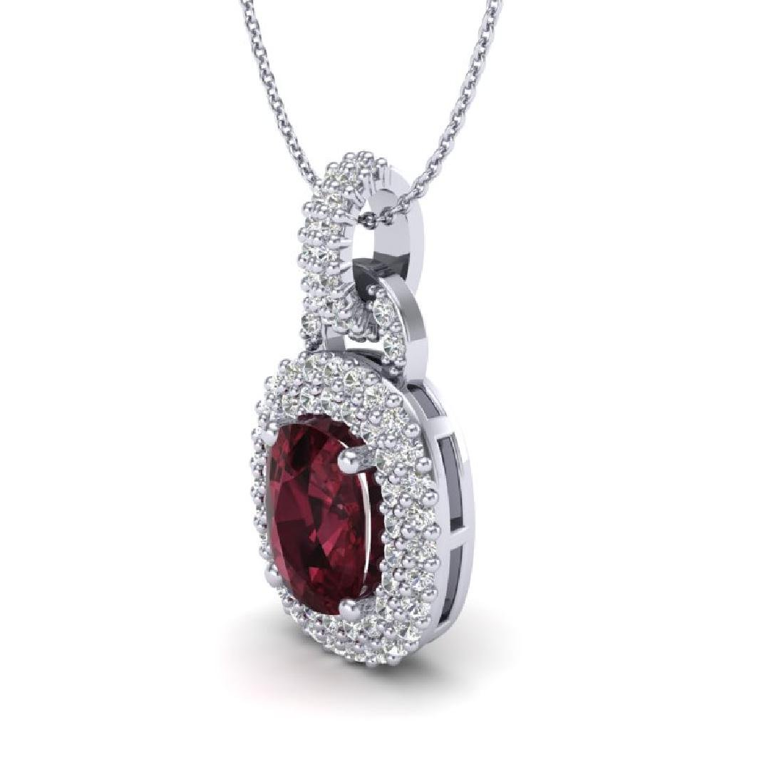 2.50 CTW Garnet And Micro Pave VS/SI Diamond Necklace - 2
