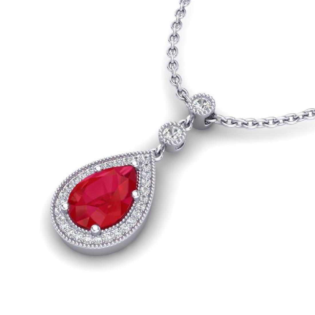 2.75 CTW Ruby & Micro Pave VS/SI Diamond Necklace