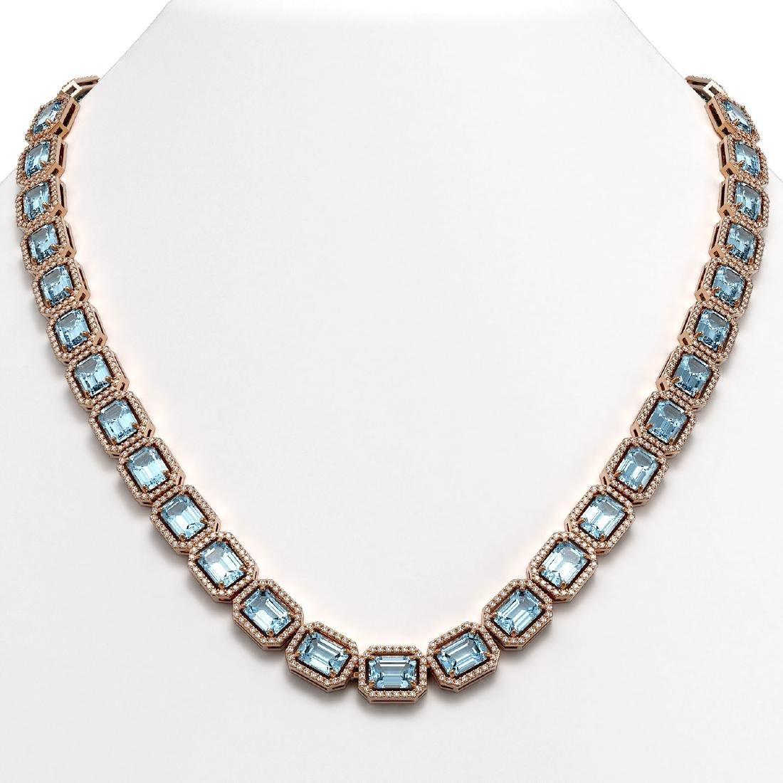 54.79 CTW Aquamarine & Diamond Halo Necklace 10K Rose