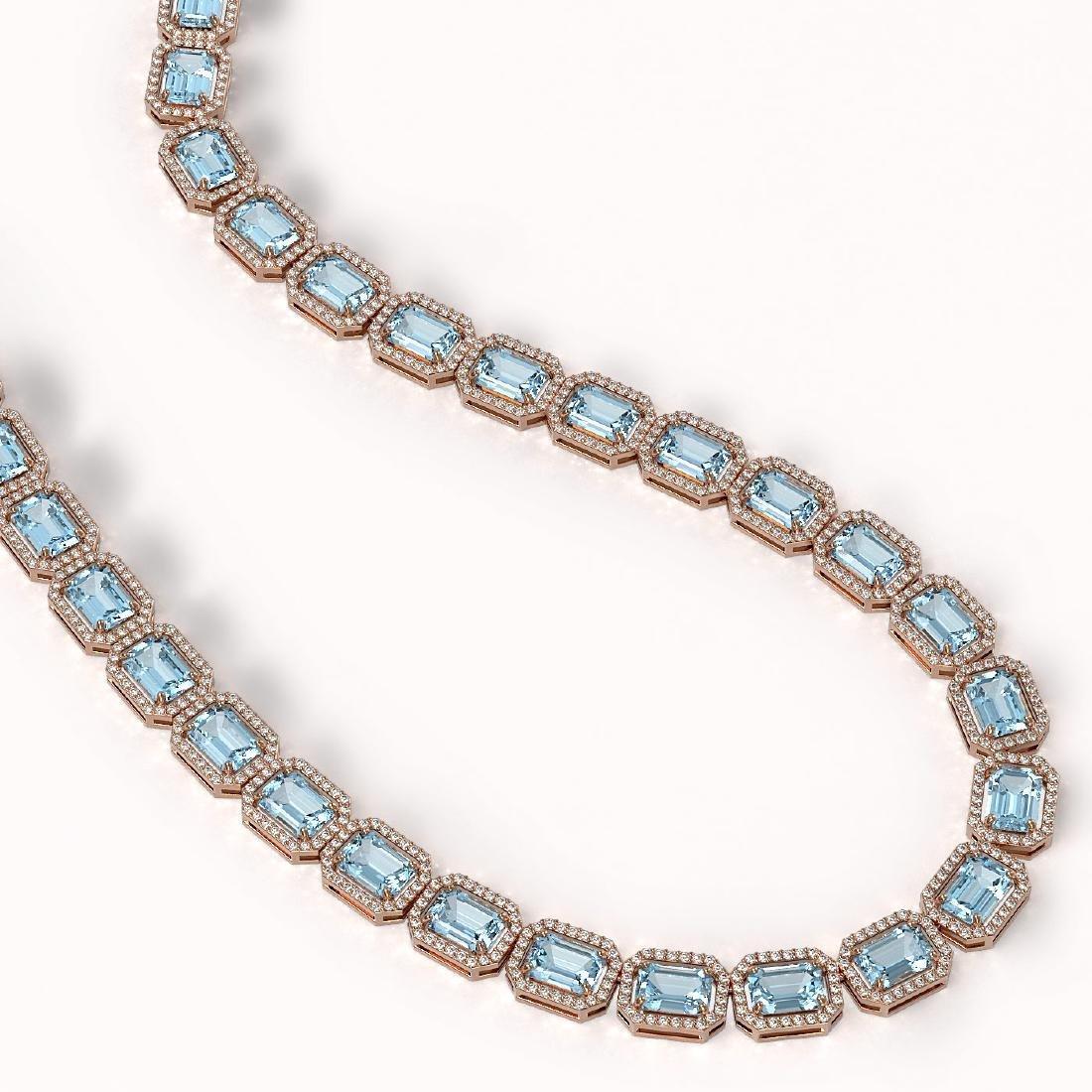 54.79 CTW Aquamarine & Diamond Halo Necklace 10K Rose - 2