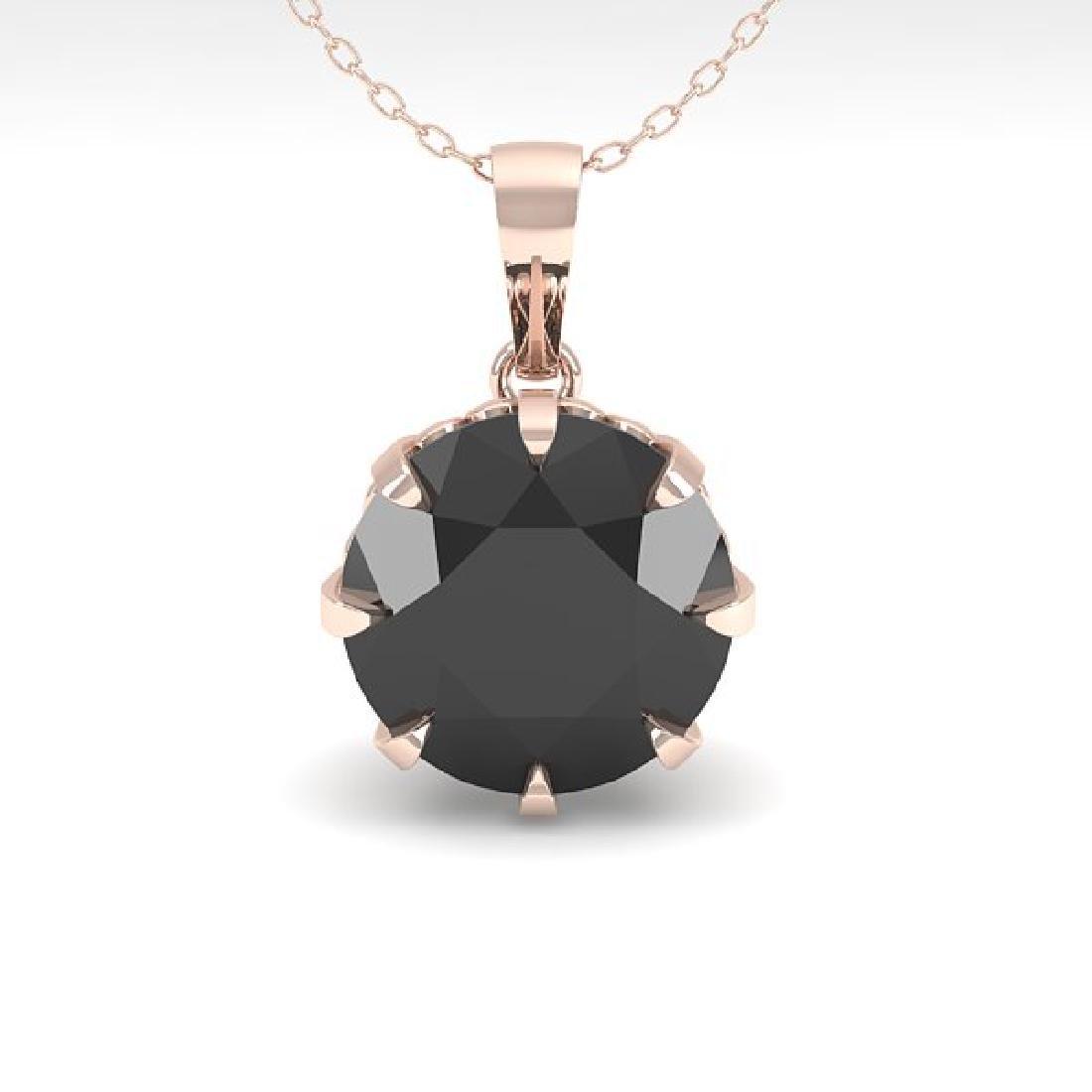 1 CTW Black Certified Diamond Solitaire Necklace 14K - 2