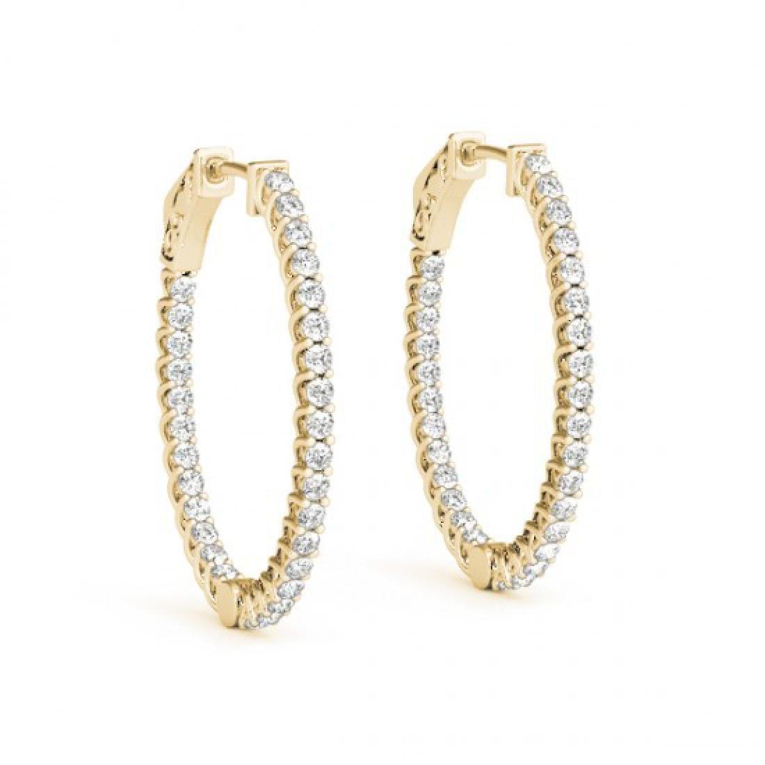 2 CTW Diamond VS/SI Certified 30 Mm Hoop Earrings 14K - 2