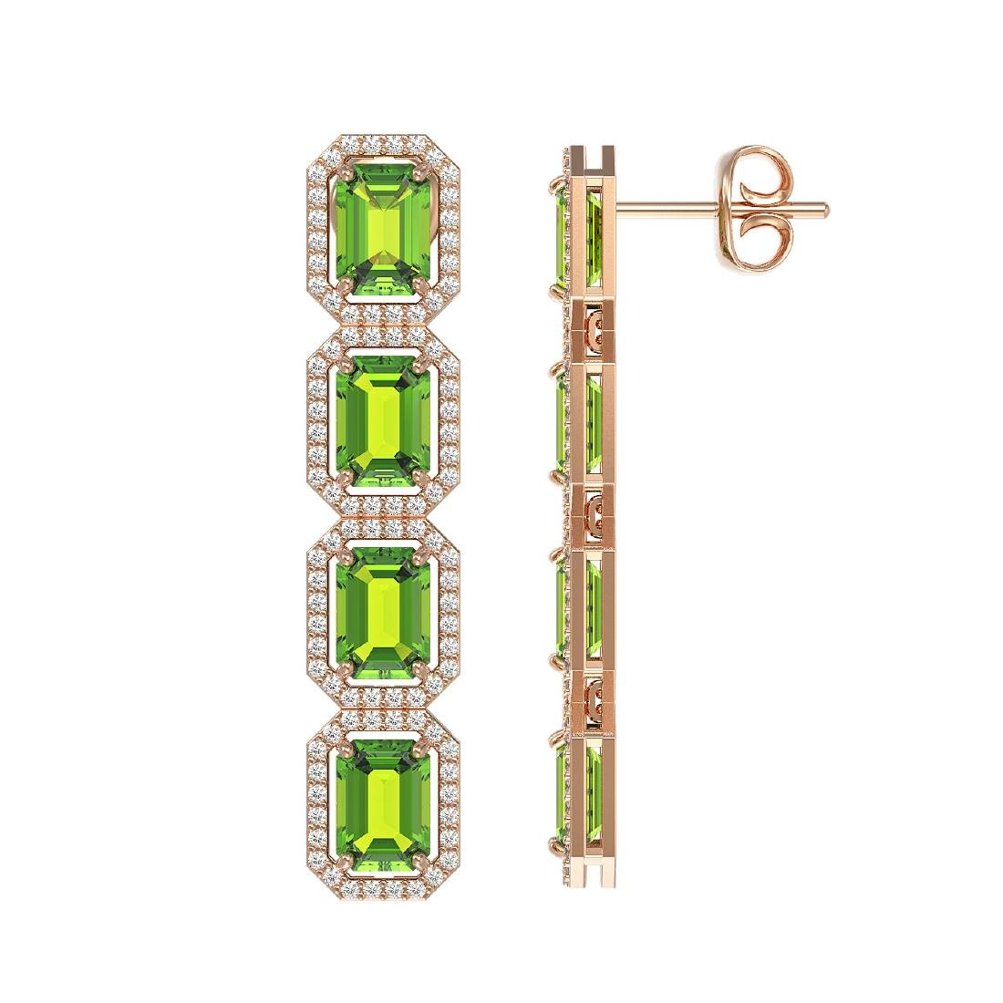 11.98 CTW Peridot & Diamond Halo Earrings 10K Rose Gold - 2