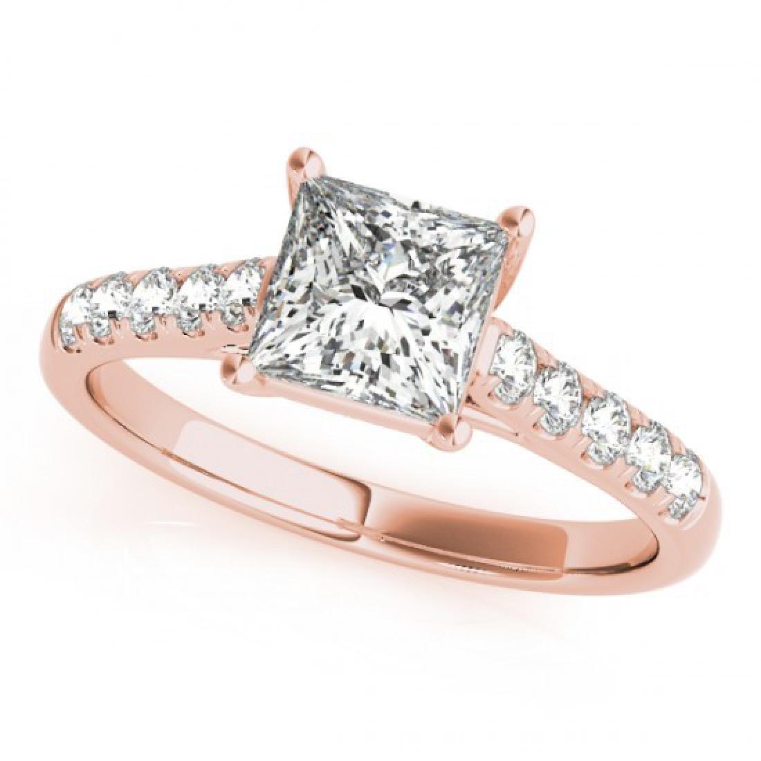 1.3 CTW Certified VS/SI Princess Diamond Ring 14K Rose