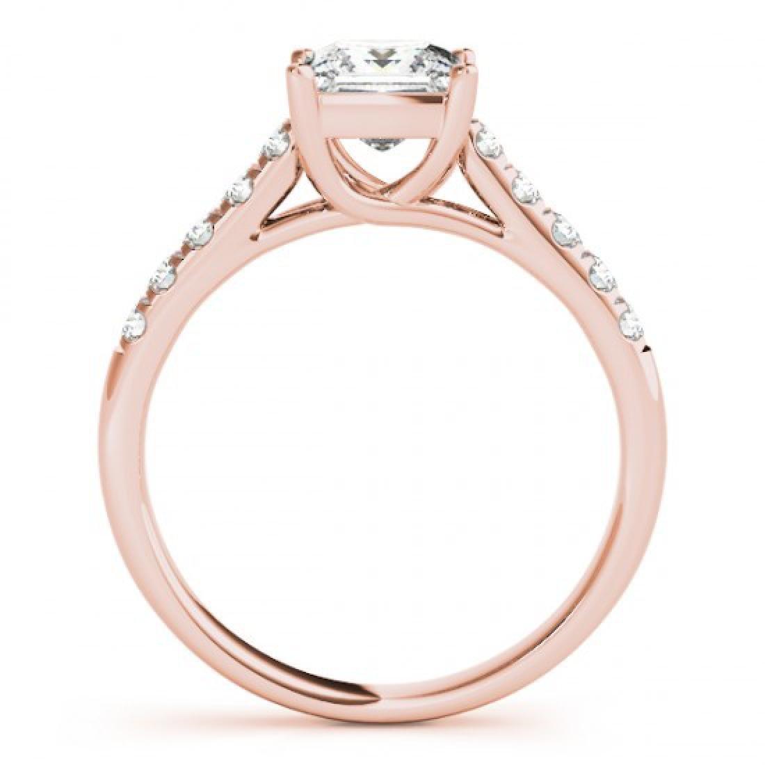 1.3 CTW Certified VS/SI Princess Diamond Ring 14K Rose - 2