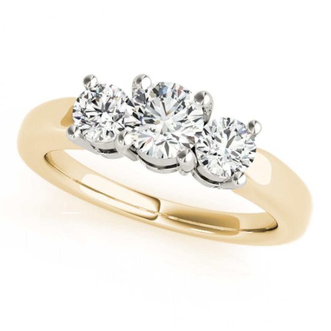 1.45 CTW Certified VS/SI Diamond 3 Stone Ring 14K - 2