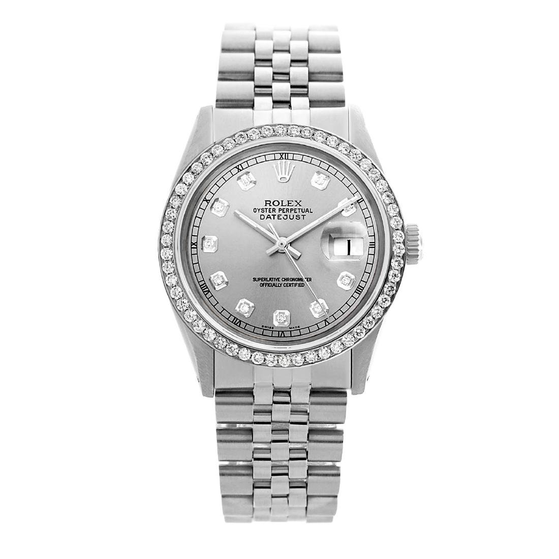 Rolex Men's Stainless Steel, QuickSet, Diamond Dial & - 2
