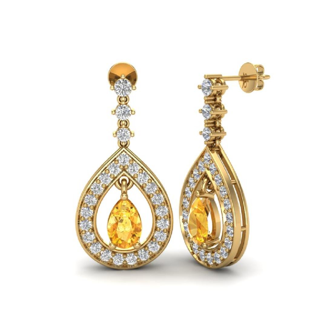 2.25 CTW Citrine & Micro Pave VS/SI Diamond Earrings - 2