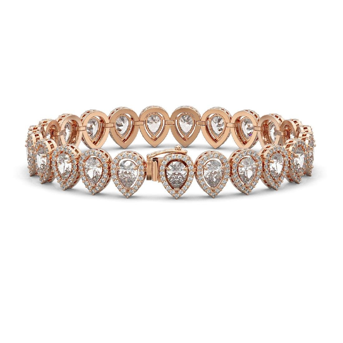 15.85 CTW Pear Diamond Designer Bracelet 18K Rose Gold - 2