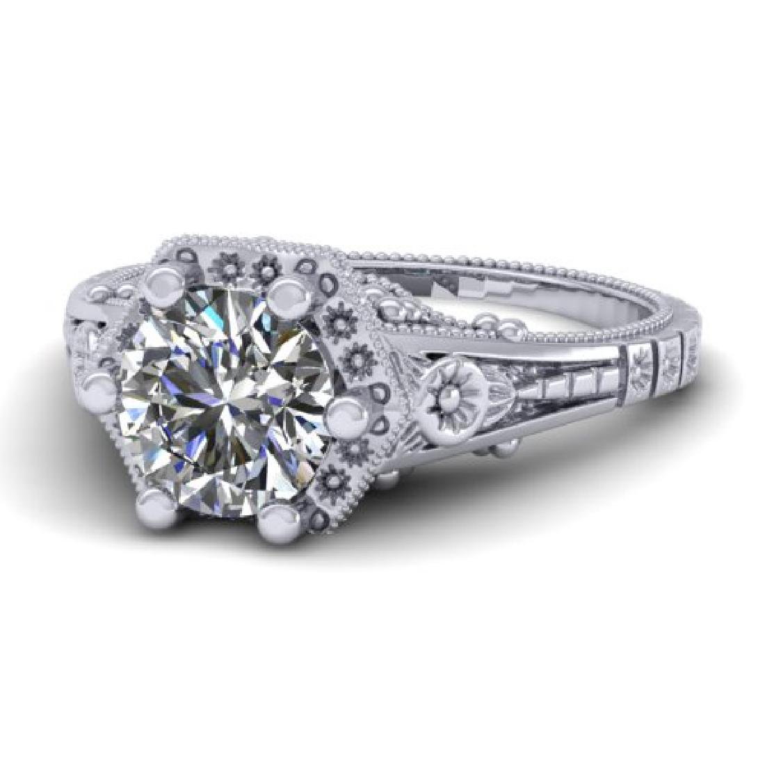 1 CTW Solitaire Certified VS/SI Diamond Ring 18K White - 2