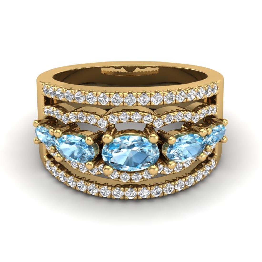 2.25 CTW Sky Blue Topaz & Micro Pave VS/SI Diamond