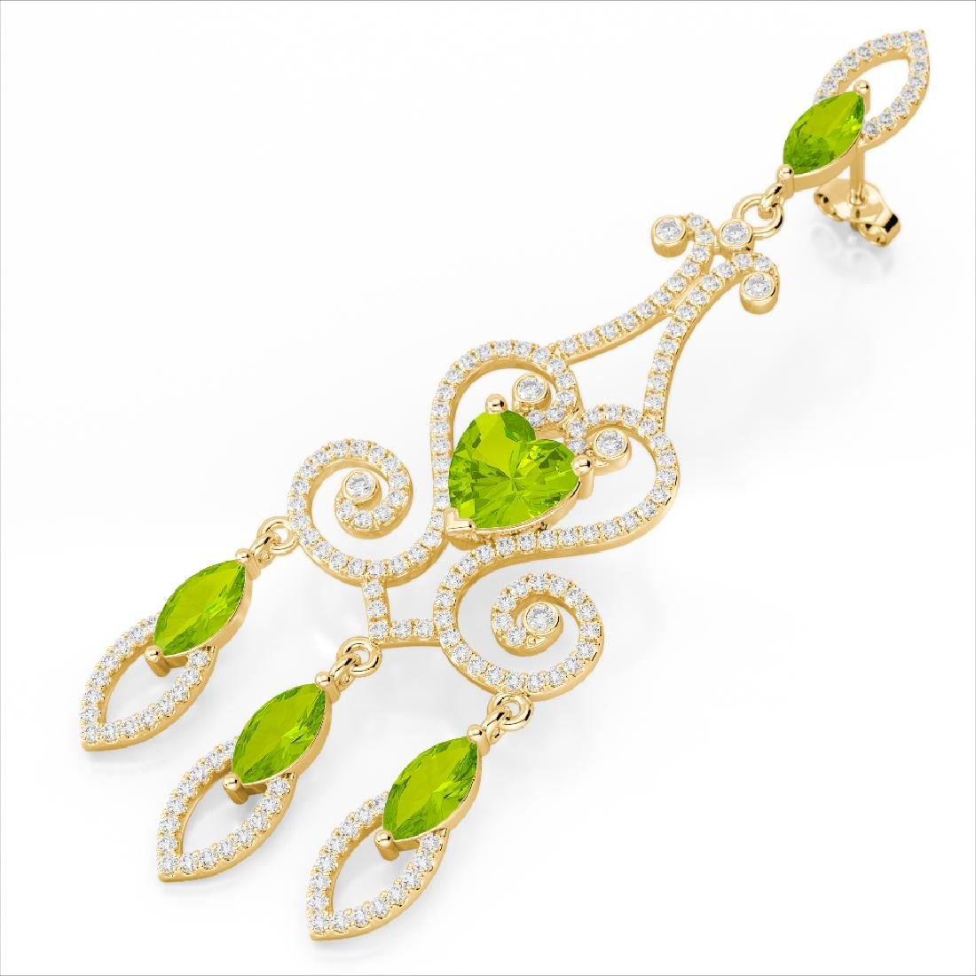 11 CTW Peridot & Micro Pave VS/SI Diamond Earrings 14K