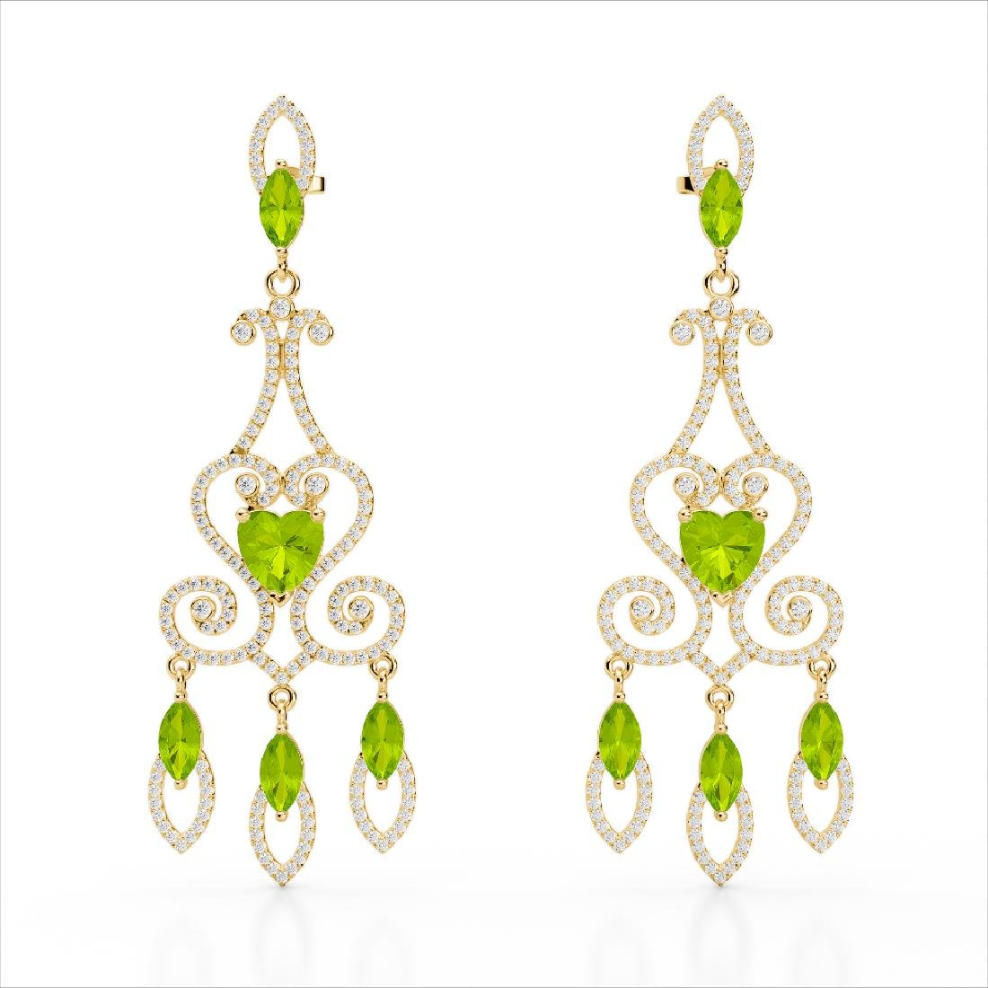 11 CTW Peridot & Micro Pave VS/SI Diamond Earrings 14K - 2