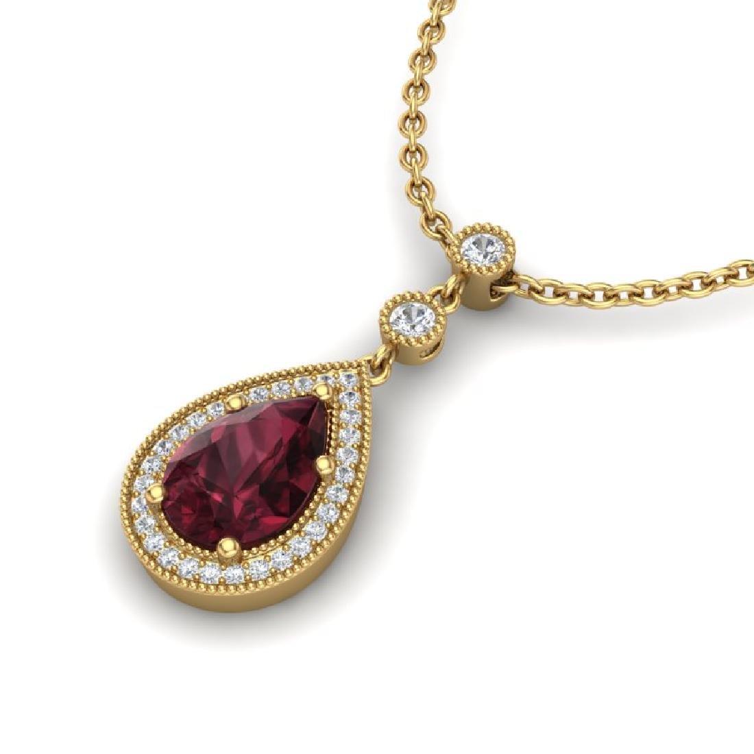 2.25 CTW Garnet & Micro VS/SI Diamond Necklace Designer
