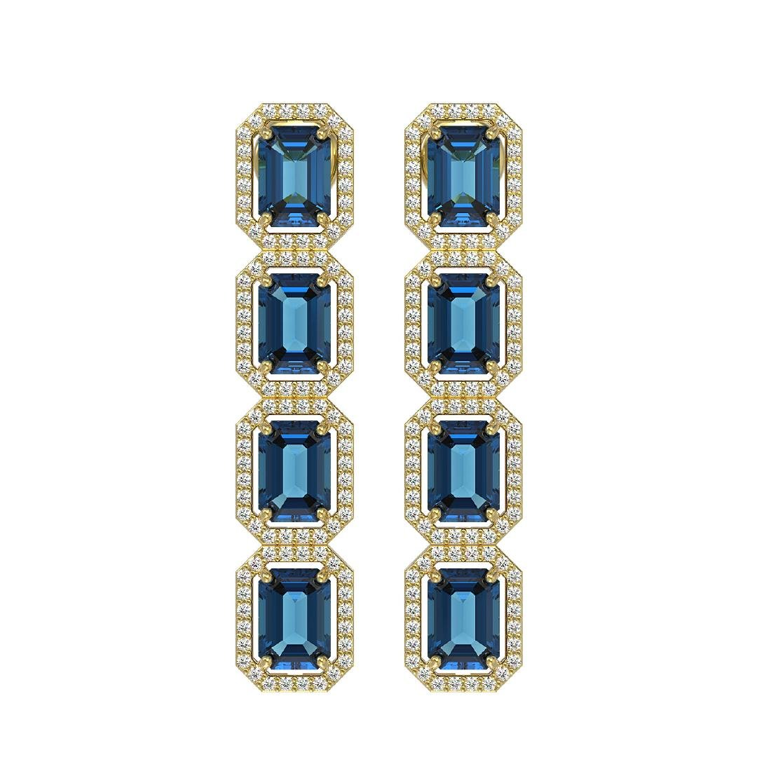 12.02 CTW London Topaz & Diamond Halo Earrings 10K