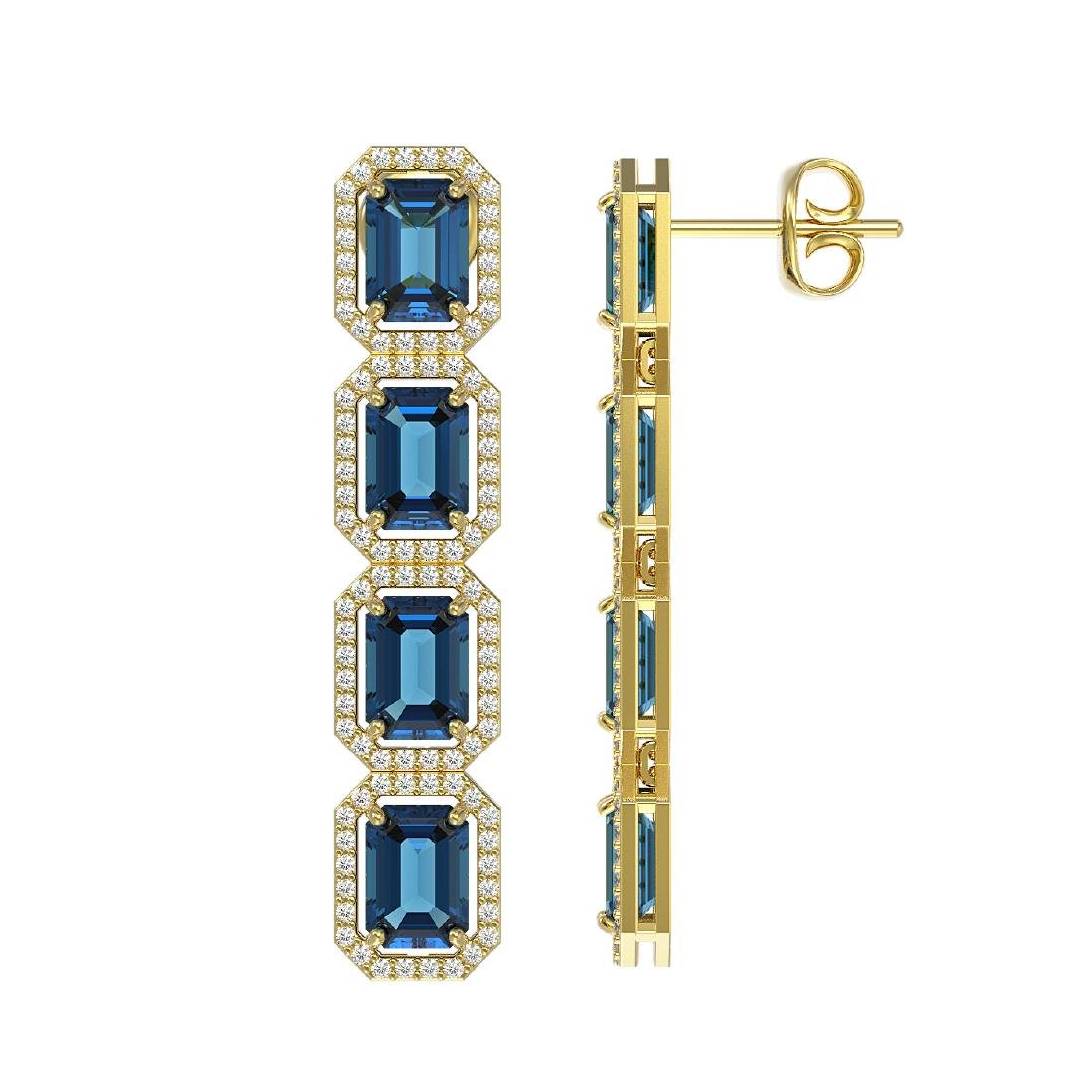 12.02 CTW London Topaz & Diamond Halo Earrings 10K - 2