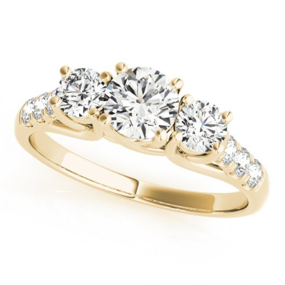 0.75 CTW Certified VS/SI Diamond 3 Stone Ring 14K - 2