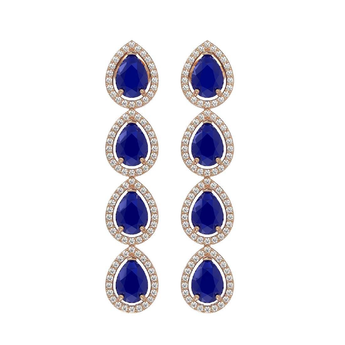 10.2 CTW Sapphire & Diamond Halo Earrings 10K Rose Gold