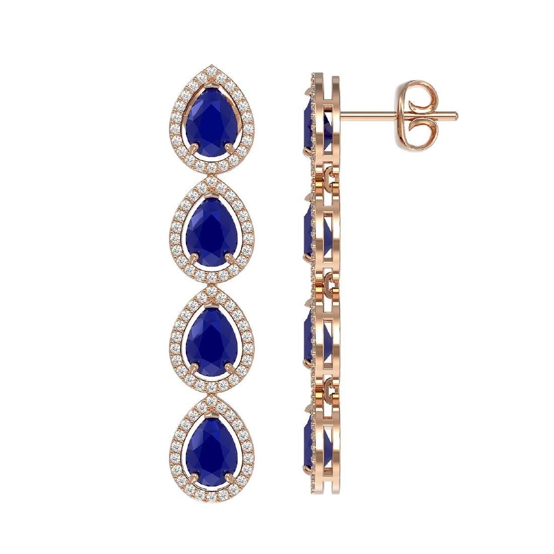 10.2 CTW Sapphire & Diamond Halo Earrings 10K Rose Gold - 2