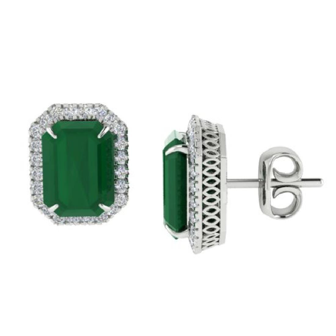 10.40 CTW Emerald & Micro Pave VS/SI Diamond Halo - 2