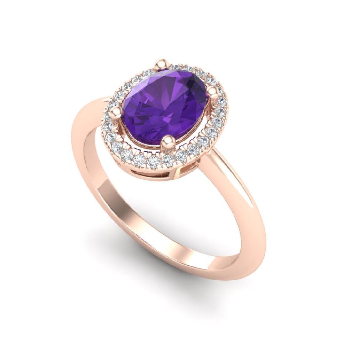 1.75 CTW Amethyst & Micro VS/SI Diamond Ring Halo 14K - 2