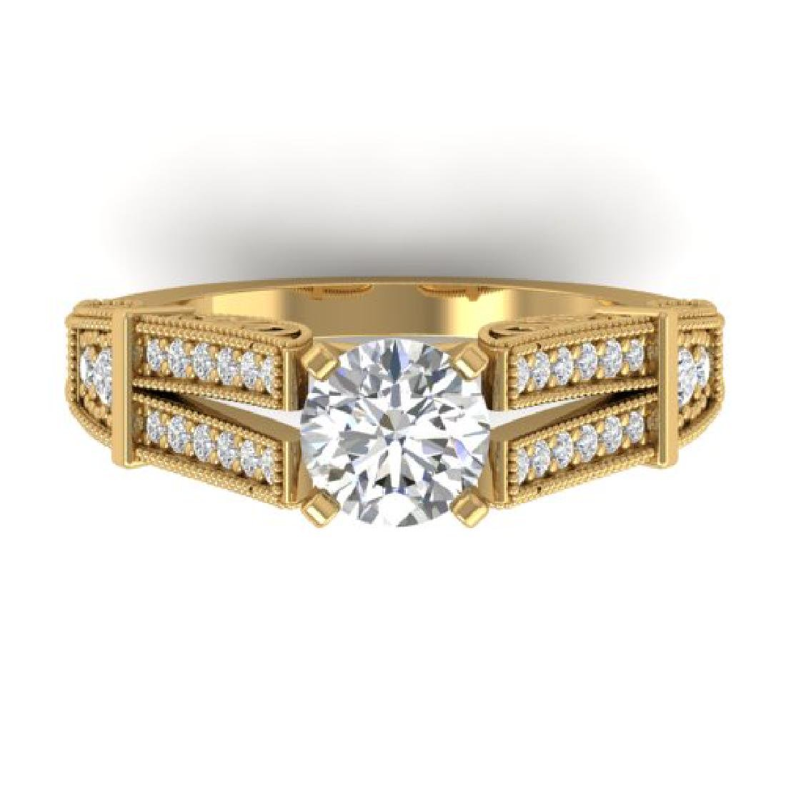 1.5 CTW Certified VS/SI Diamond Solitaire Art Deco Ring
