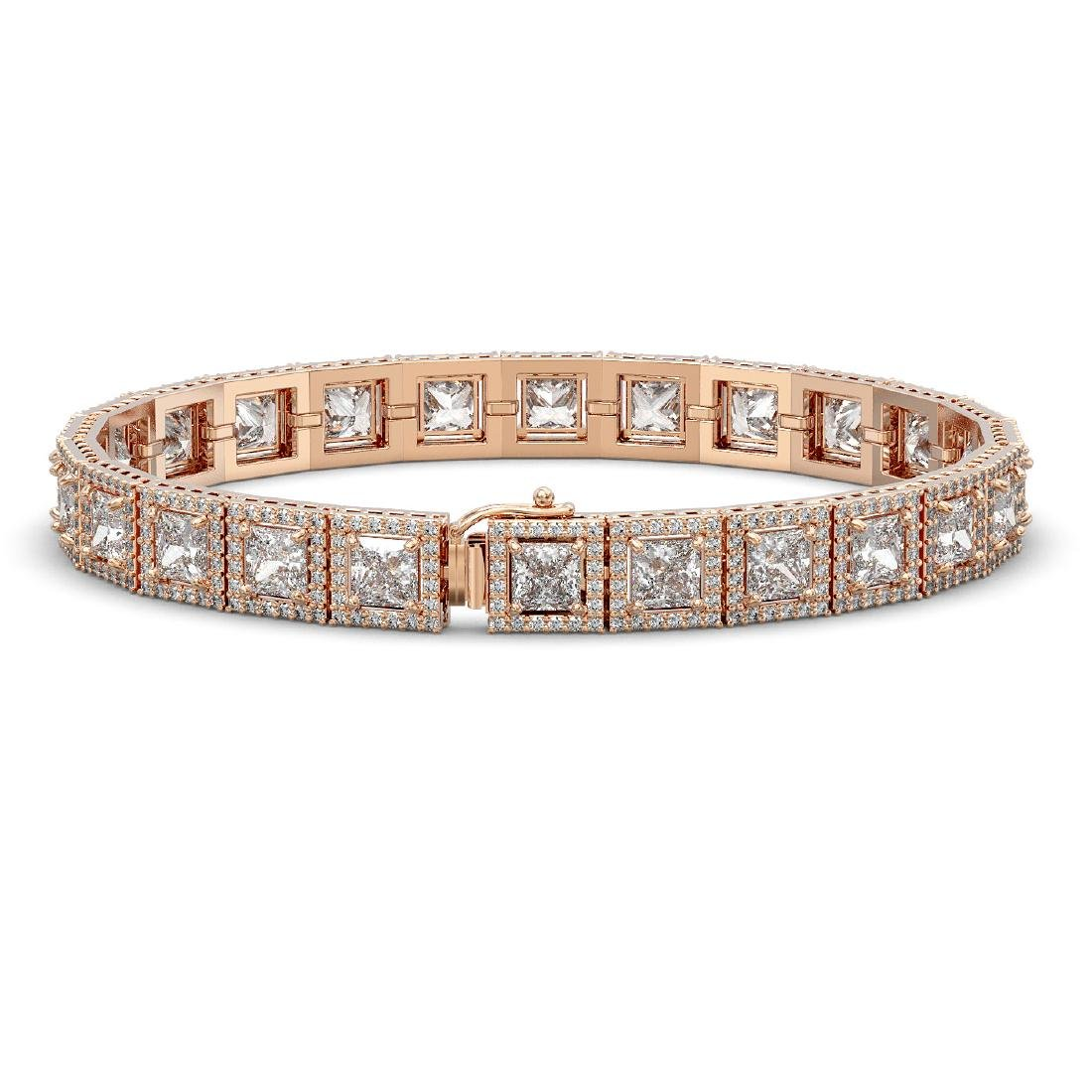 15.87 CTW Princess Diamond Designer Bracelet 18K Rose - 2