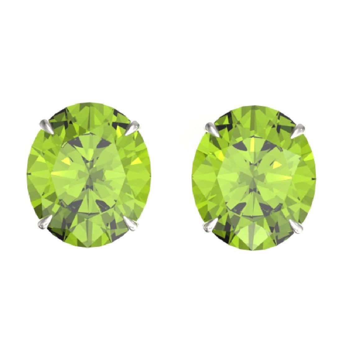18 CTW Peridot Designer Solitaire Stud Earrings 18K
