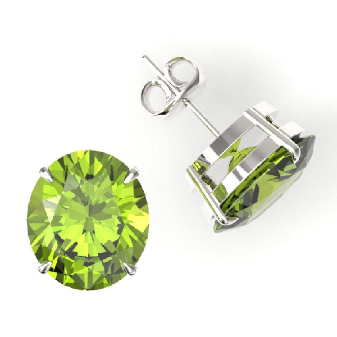 18 CTW Peridot Designer Solitaire Stud Earrings 18K - 2